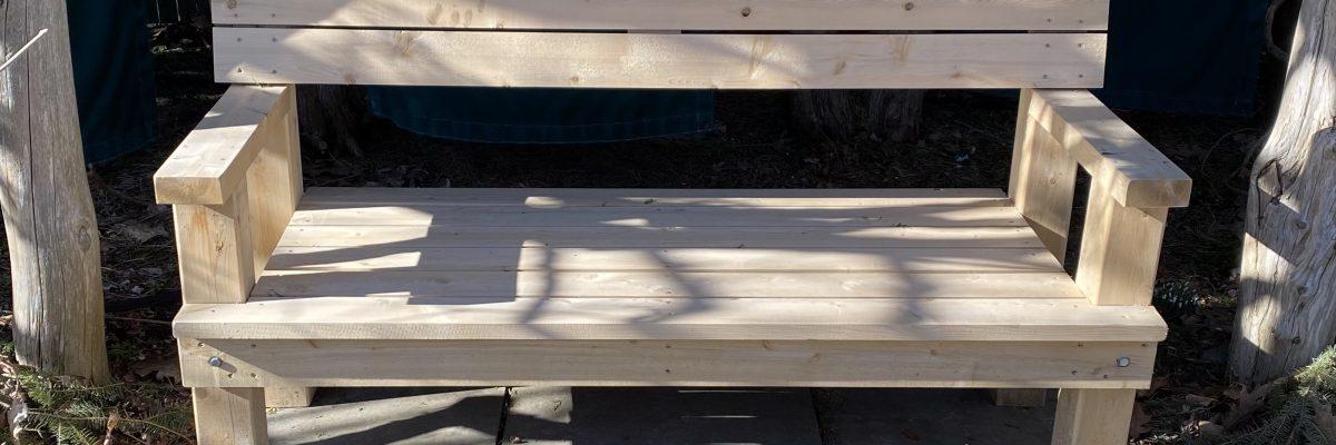 Six-foot cedar bench